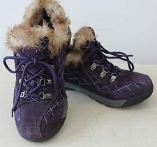 Women's LANDS END Purple Lace Up Furry Low Boots Sz 8B L#1142
