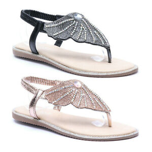 Details about Womens Ladies Crystal Diamante Flat Gladiator Summer Ankle Strap Beach Sandals