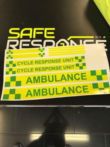 Ambulance Cycle Responder Autocollant Kit Premier vert cycliste réponse cru Unité
