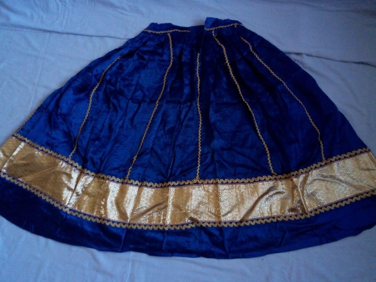 Indian Vintage Satin Silk Lehenga Lace Handwork Wedding Dress Skirt