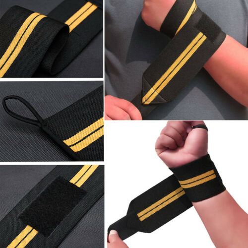 New Weight Lifting Bar Straps Gym Bodybuilding Wrist Support Wraps Bandage