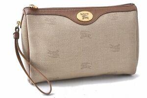 Authentic Burberrys Clutch Hand Bag PVC Leather Beige A7551