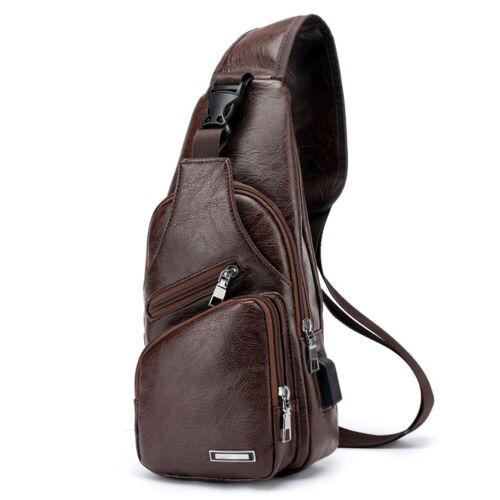 Men/'s Crossbody Bag USB Messenger Chest  Bag Leather Shoulder Travel Back Pack