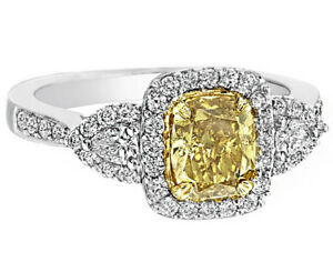 9e486b79f66728 Image is loading Traditional-Three-Stone-Diamond-Engagement-Ring-Fancy- Yellow-