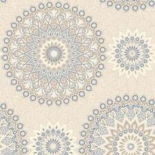Holden Wallpaper - Glitter Medalion Abstract Aztec Motif - Blue / Cream - 11451