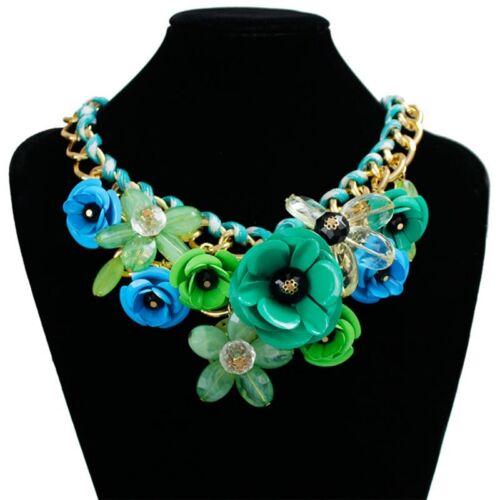 Crystal Flower Pendant Necklace Choker Bib Statement Chunky Collar Gift UK STOCK
