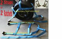 2 Basket Straps + 2 Ratchets Adjustable Tow Dolly Demco Wheel Net Flat Hook Bl+y