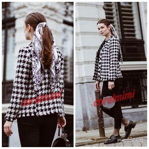 Zara Frayed Check Coat Taglia New M qRrwqZ5