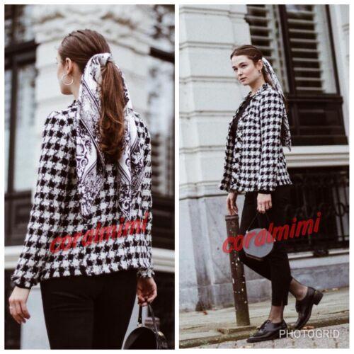 New Frayed Coat Size M Check Zara Cq8Bz