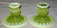 2 1940 ANTIQUE FENTON VASELINE OPALESCENT HOBNAIL ART GLASS TOPAZ CANDLE HOLDER