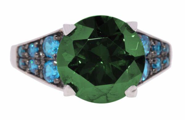 18k Schwarz Vergoldet Brillante Runde Grün Smaragd W Topas Silberring SorgfäLtig AusgewäHlte Materialien