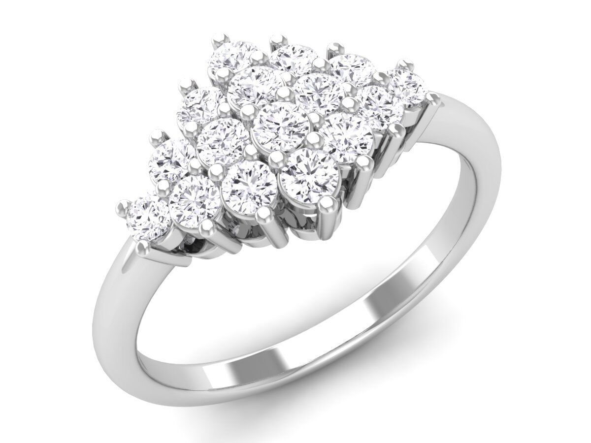 F SI 0.45ct Round Brilliant Cut Diamonds Engagement Ring in White & Yellow gold