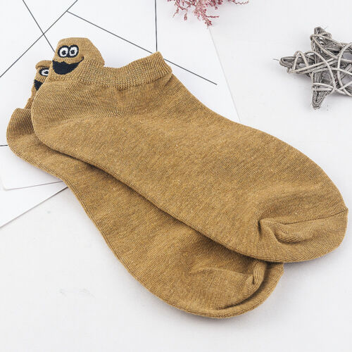 Novelty Cartoon Embroidered Expression Women Girls Funny Soft Cotton Ankle Socks