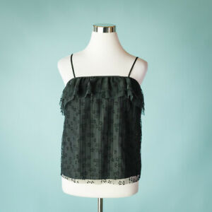 J-Crew-Womens-XS-Black-Top-Blouse-Tank-Top-Camisole-Pleated-Flutter-Lace-Ruffle