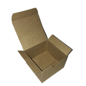 One Piece Small Recycled Brown Kraft Treat 2 Paper Gift Box 5x5x3 Pre-Folded
