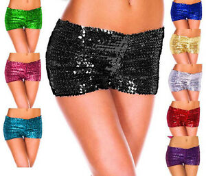 New-Hot-Sexy-Mini-Sequin-Casual-Night-Elastic-Pants-Bottoming-Shorts-Size-8-14