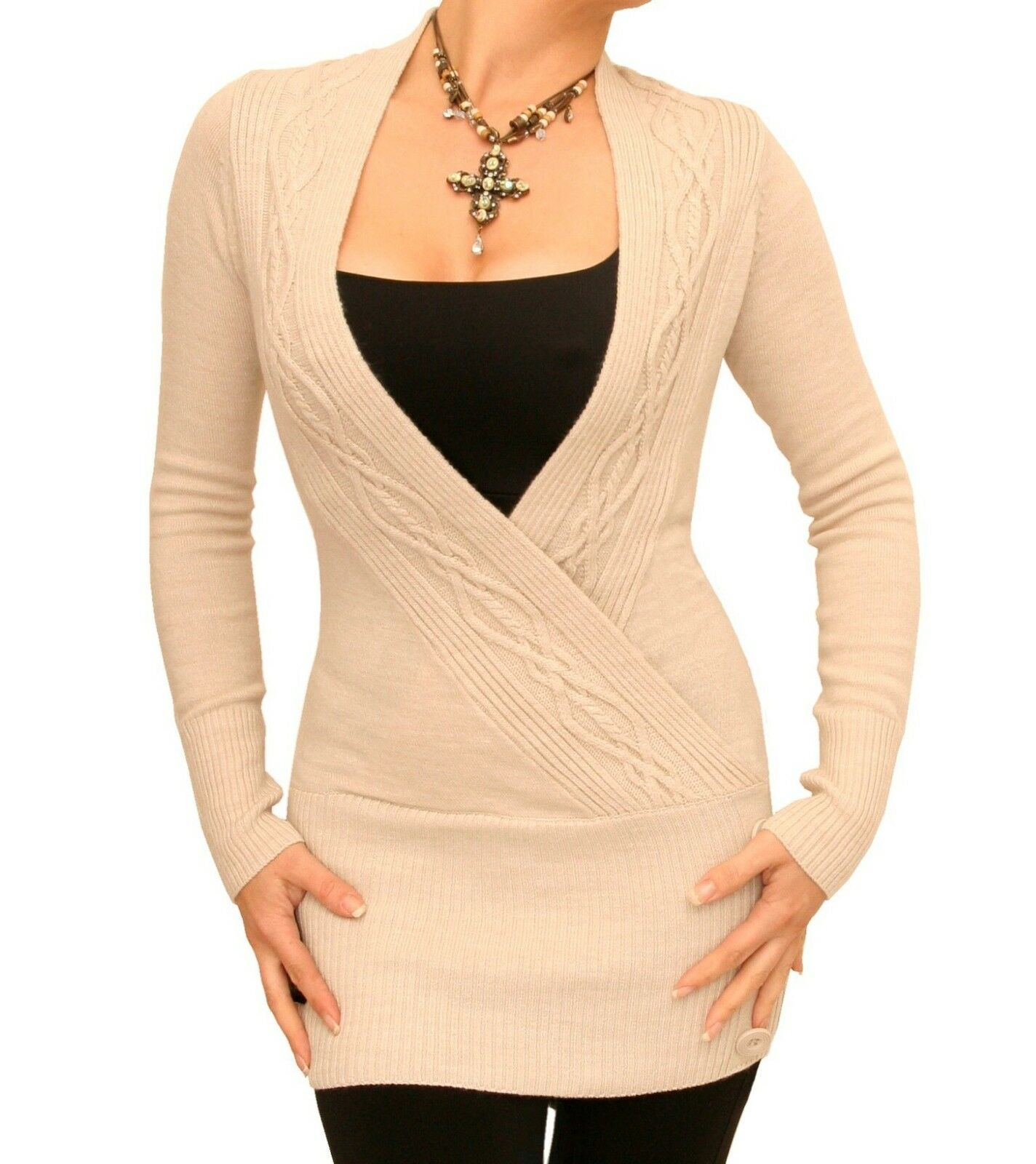 New Cable Knit Wrap Tunic Jumper - Long Sleeve