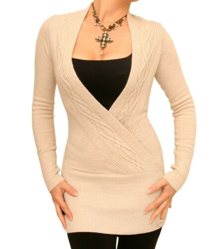 New Cable Knit Wrap Tunic Jumper Long Sleeve
