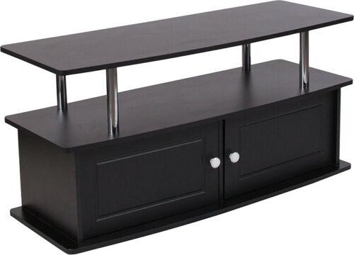 Black TV Stand with Shelves Cabinet and Stainless Steel Tubing