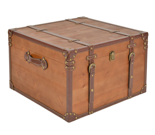 ts-ideen Table basse coffre en bois Commode Armoire Boîte de rangement Marron