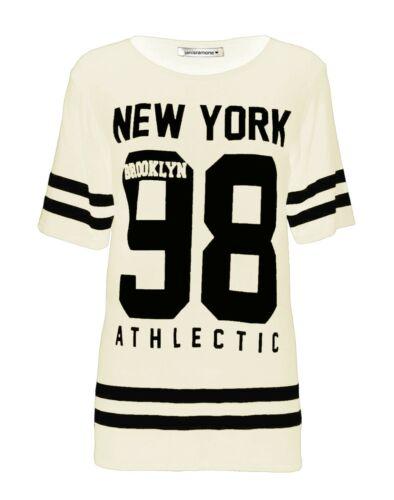 New Womens Baseball NewYork 98 Brooklyn Varsity Stripe Print Loose T-Shirt Top