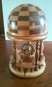 Hand-Made-Clock-Folk-Art-Checker-Mantel-Shelf-Decor-Wood-Craftsman-Cupola-USA