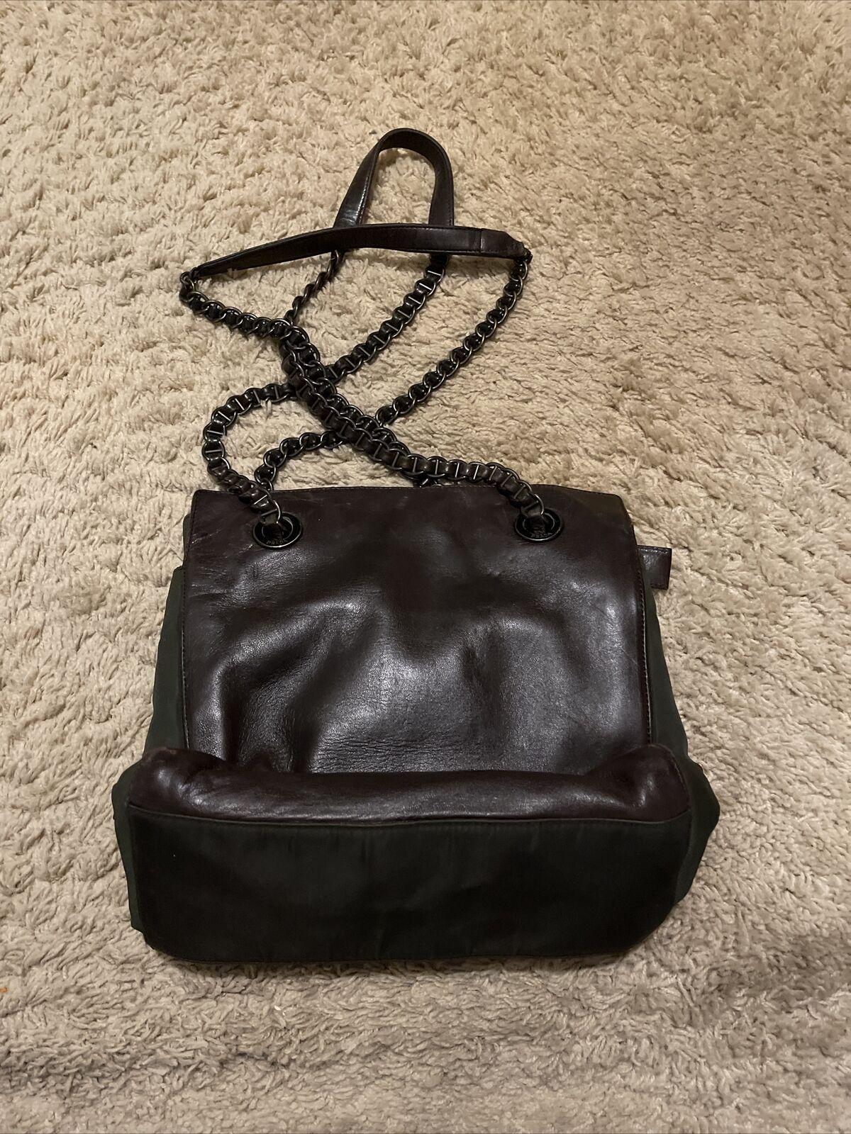 VIntage Prada Medium Leather Bag Brown Shoulder B… - image 2