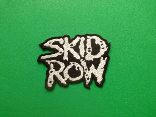 a SKID ROW IRON ON PATCH: SILVER HEAVY METAL PUNK ROCK MUSIC SEW ON