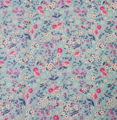 Felicidad Sky 100/% Algodón Popelín Floral Vestido De Tela Artesanal empavesado Quilting