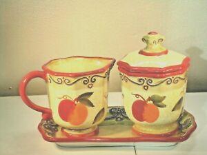 TABLETOPS UNLIMITED MEDICI Creamer Sucre Plateau Tea Serving Set vintage peint à la main