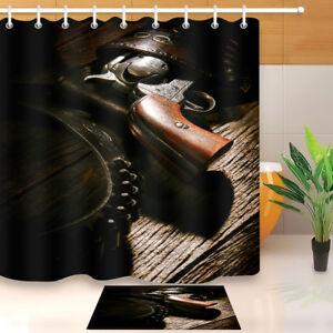 Image Is Loading Western Cowboy Gear Gun Shower Curtain Set Bathroom