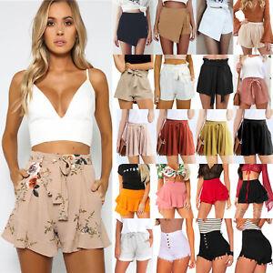 b5992380b646 Womens Ladies Summer Shorts High Waisted Casual Beach Mini Hot Pants ...