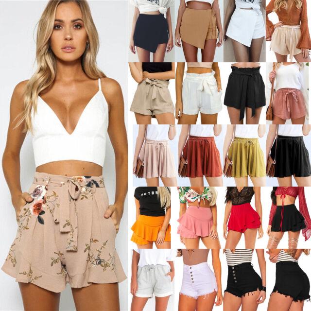 Womens Ladies Summer Shorts High Waisted Casual Beach Mini Hot Pants Trousers