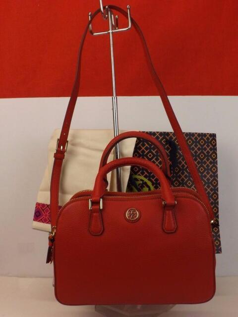 e61c42bc913c Tory Burch Robinson Red Kir Royal Pebbled Leather Reva 2x Zip Satchel Bag