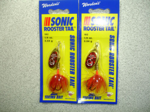 Yellow New Sonic Rooster Tail Spinners Wordens 1//8 oz 2 x Yakima Bait