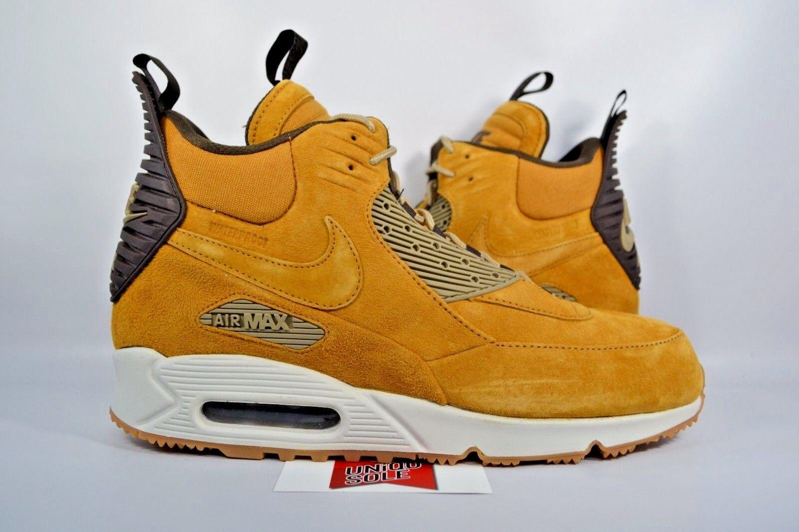NEW Nike Air Max 90 Sneakerboot WHEAT FLAX HAYSTACK 684714-700 sz 9 WINTER BOOT