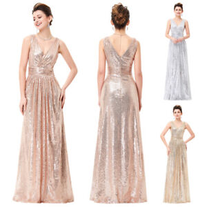 Long-Maxi-Sequins-Bridesmaid-Dress-V-neck-Pageant-Evening-Formal-Party-Ball-Gown