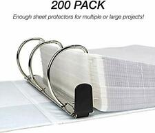 200 Pcs Sleeves Clear Plastic Sheet Page Protectors Document Office Ring Binder