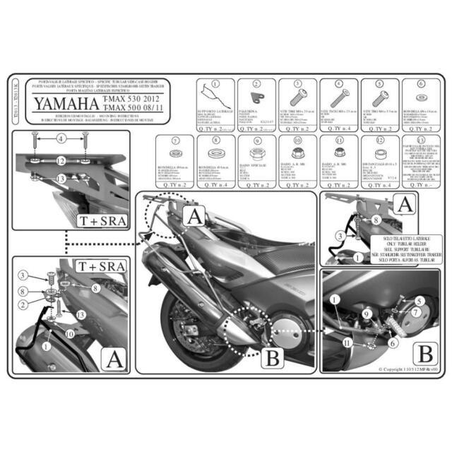 TELAIETTI LATERALI YAMAHA 500 XP T-Max (SJ011) 2008-2011