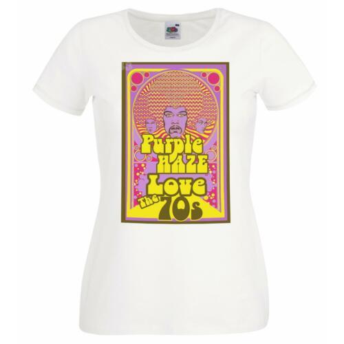 Ladies White classic Rock Purple Haze Festival T-Shirt Shirt 1970s Psychedelic