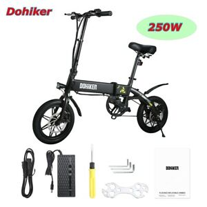 14'' 250W 25km/H DOHIKER Bicicletas Bicicleta Eléctrica Plegable Bicycle LED USB