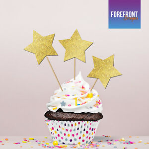 Image Is Loading Custom STAR GLITTER Cupcake Toppers 10 PACK Wedding