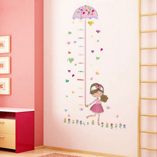 umbrella measure height girl removable vinyl wall sticker decal baby room decor*