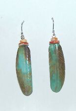 TURQUOISE CARVED FEATHER & SPINY OYSTER SHELL BEADS DANGLE WIRE EARRINGS - 964B