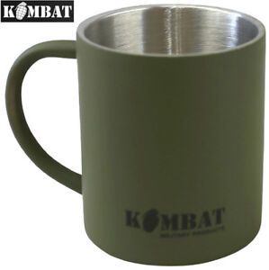 Kombat Army Military Stainless Steel Mug Camping Travel Drinks Cup Green 300ml