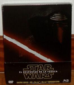 STAR-WARS-EL-DESPERTAR-DE-LA-FUERZA-STEELBOOK-2-BLU-RAY-DVD-NUEVO-PRECINTADO-R2