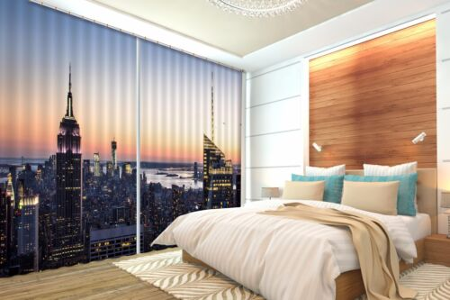 3D City sunset3 Blockout Photo Curtain Printing Curtains Drapes Fabric Window AU