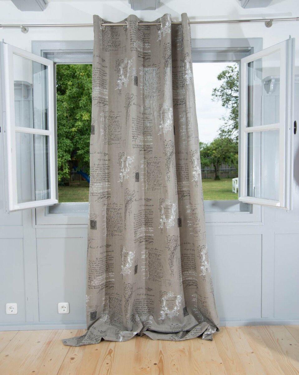 Vorhang Vorhang Vorhang Gardine Ösenschal Leinen Manuskript 245cm oder Wunschlänge 074221