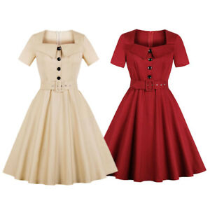 Details about Plus Size 1940s 50s Rockabilly Vintage Style Retro Womens  Party Swing Belt Dress