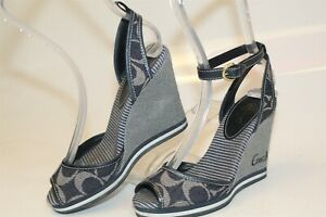 Coach-Tawney-Womens-Size-6-5-B-Blue-Fabric-Peep-Toe-Wedge-Heels-Shoes-A8119
